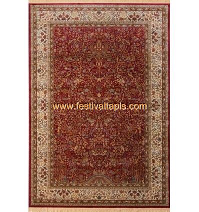 Tapis style Oriental coloris rouge vif et beige FABRIS