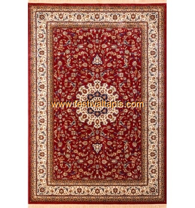 tapis style oriental coloris rouge vif et beige fabris. Black Bedroom Furniture Sets. Home Design Ideas