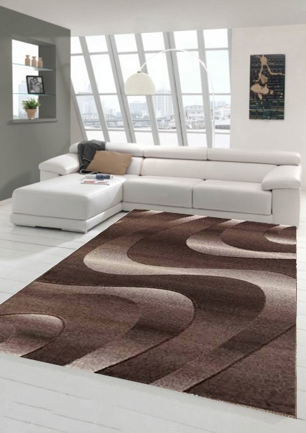 Tapis courtes m ches pour salon marron eden - Grand tapis de salon ...