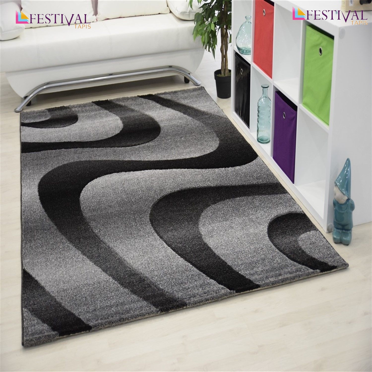 Tapis courtes m ches pour salon gris eden for Tapis decoratif pour salon