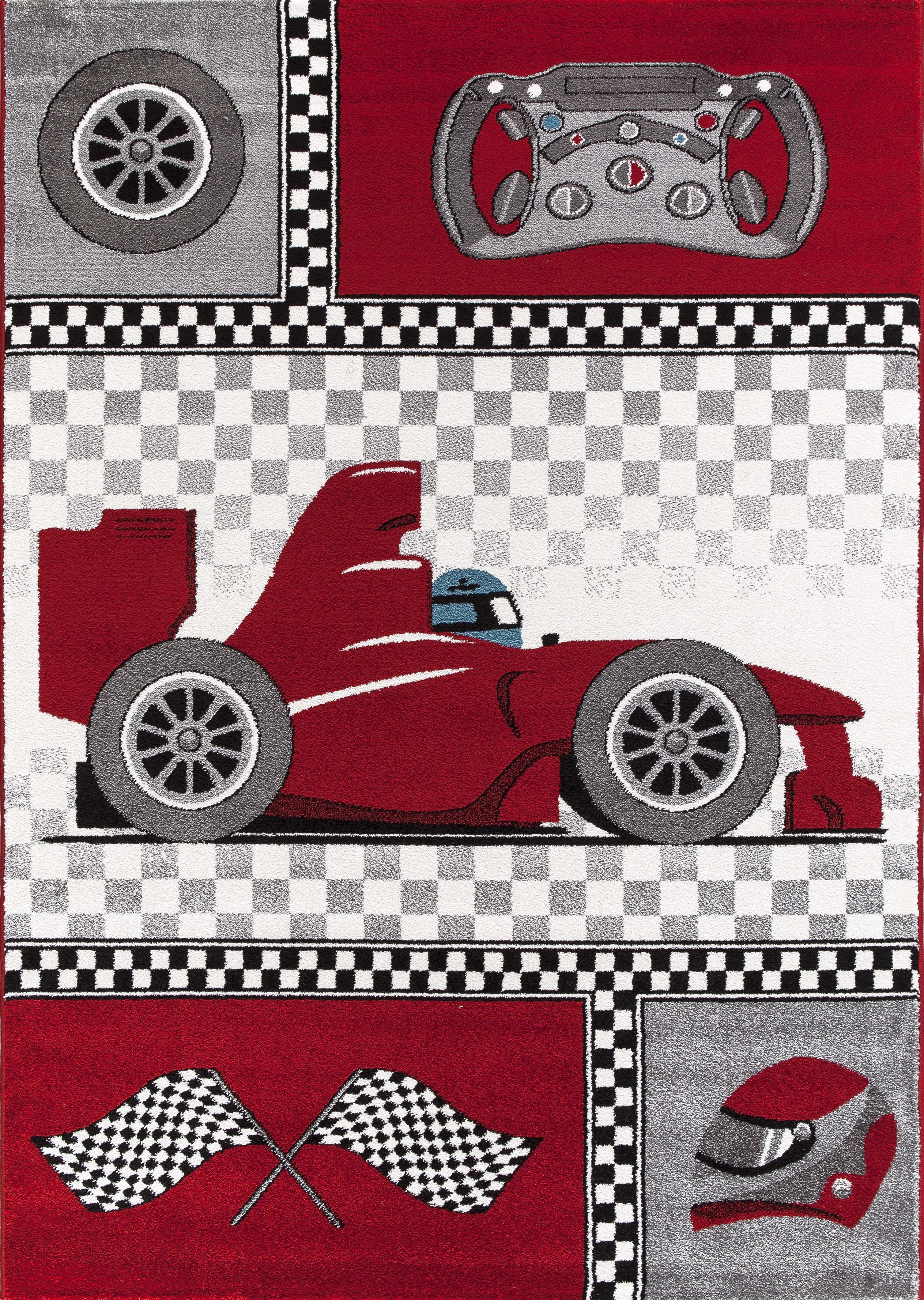Tapis pour chambre de gar§on cr¨me et gris voiture F1 Speed