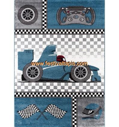 Tapis pour chambre de gar on blue et gris speed voiture f1 speed - Tapis garcon pas cher ...