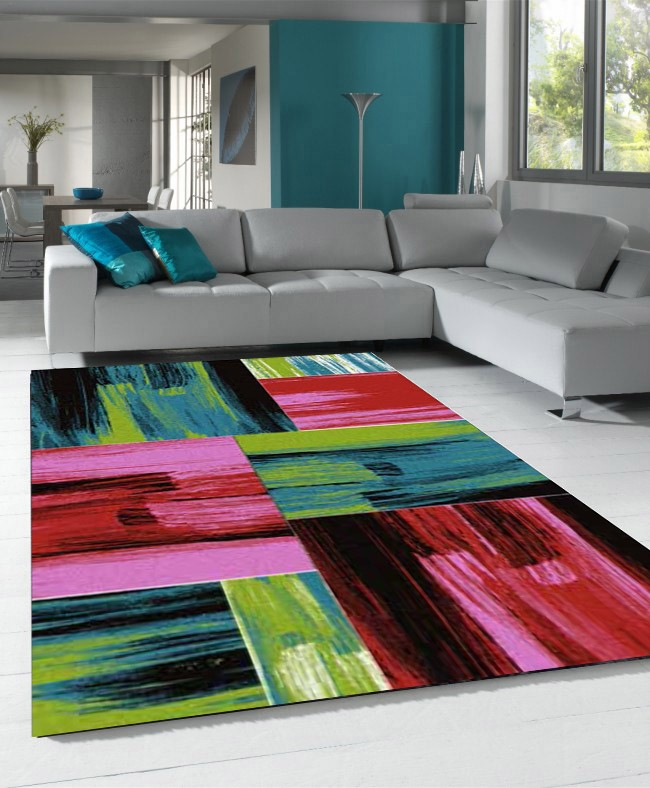 Tapis vintage multicolore pour salon crystal for Tapis salon colore pas cher