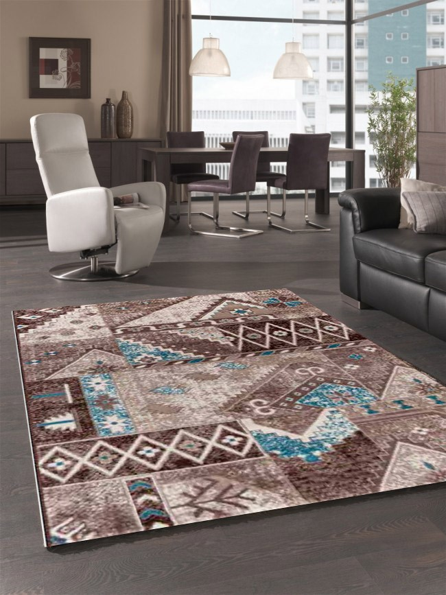 tapis d 39 orient vintage marron pour salon crystal. Black Bedroom Furniture Sets. Home Design Ideas