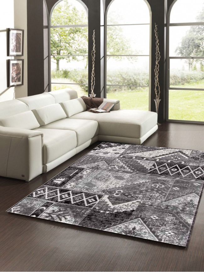 tapis d 39 orient vintage noir gris pour salon crystal. Black Bedroom Furniture Sets. Home Design Ideas