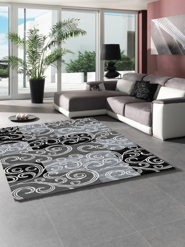 tapis de salon en polypropyl ne noir gris neo pas cher. Black Bedroom Furniture Sets. Home Design Ideas