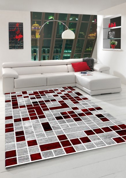 tapis de salon en polypropyl ne rouge neo pas cher. Black Bedroom Furniture Sets. Home Design Ideas