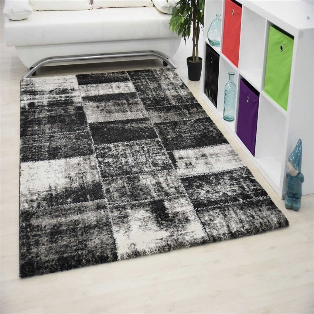 tapis contemporain en polyester ethnique noir gris. Black Bedroom Furniture Sets. Home Design Ideas