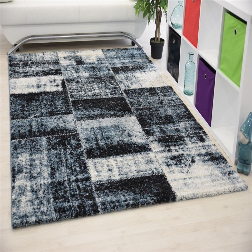 Tapis contemporain en polyester ethnique blue gris for Tres grand tapis pas cher