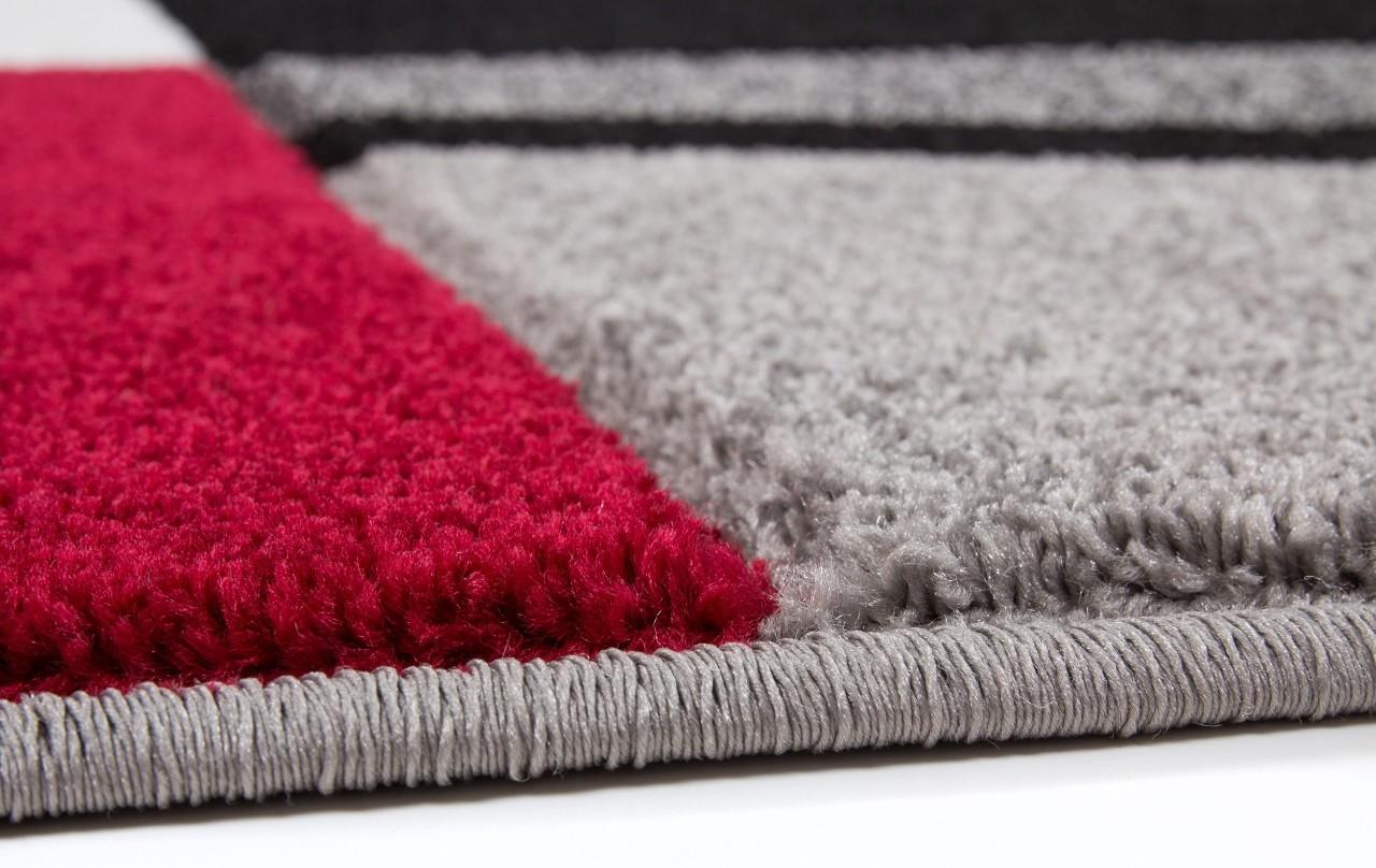 Tapis effet 3d design coloris rouge et noir helvet pas cher for Tapis shaggy avec canapés duvivier en solde