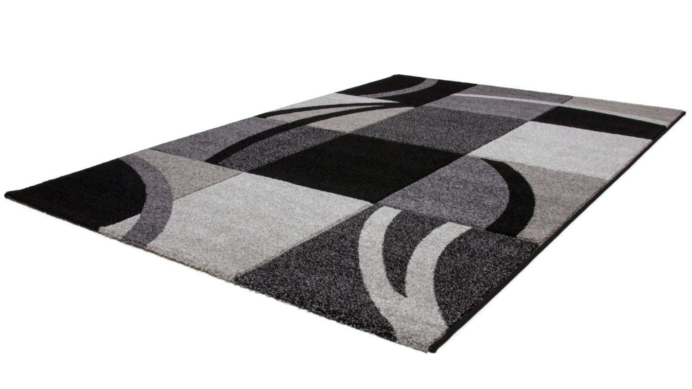 Tapis effet 3d design coloris gris noir helvet pas cher for Tapis gris fonce pas cher