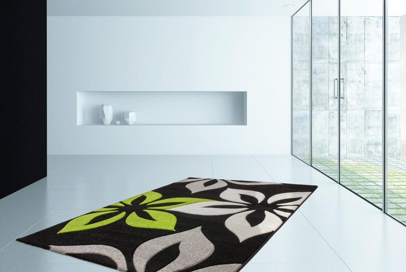 tapis effet 3d design moderne floral coloris vert helvet. Black Bedroom Furniture Sets. Home Design Ideas
