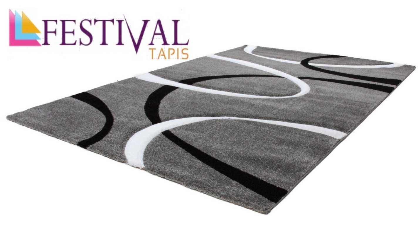 tapis effet 3d look tendance et design gris elegant pas cher. Black Bedroom Furniture Sets. Home Design Ideas