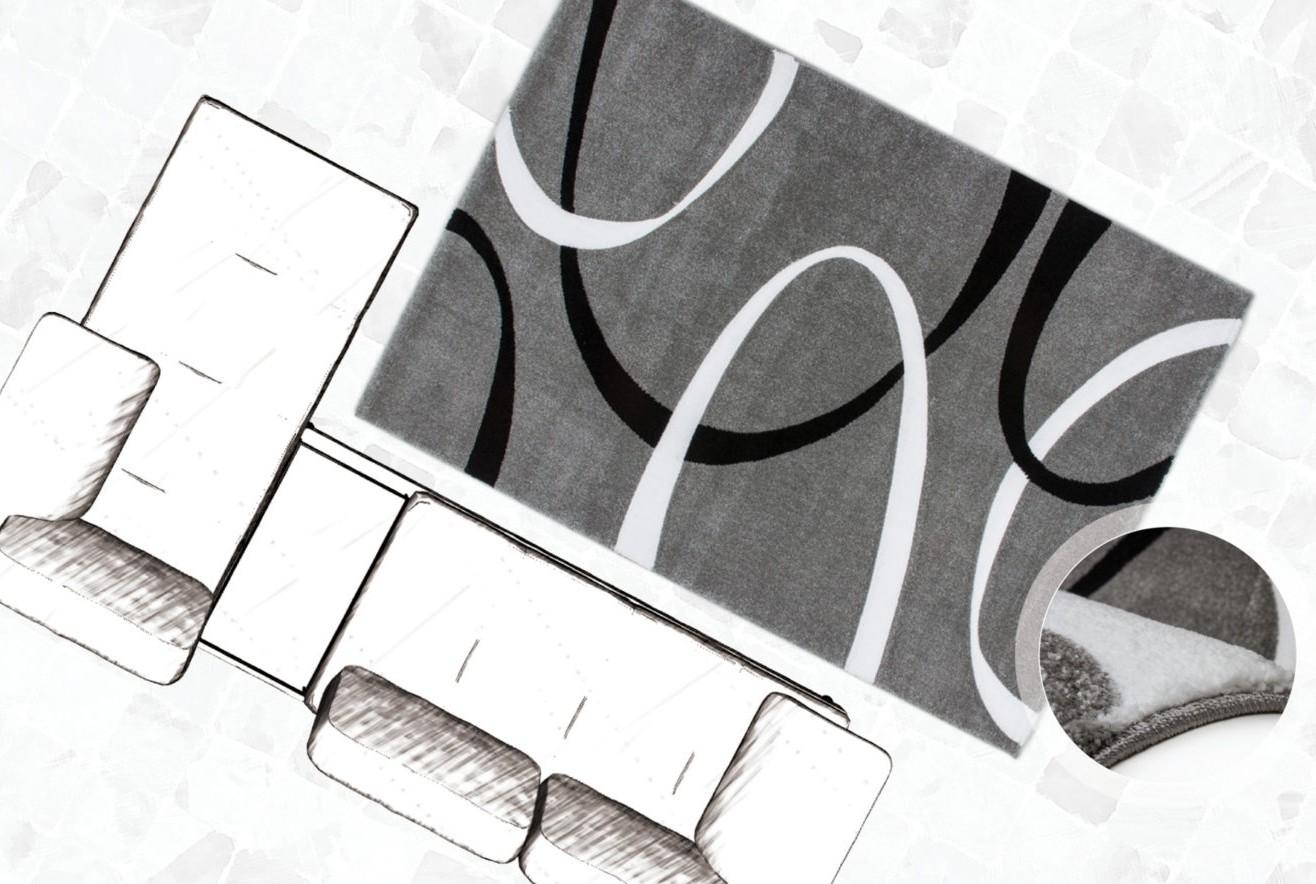 Tapis effet 3d look tendance et design gris elegant pas cher