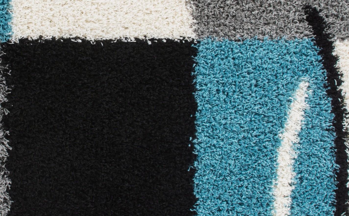 tapis shaggy moderne avec motif coloris gris blue jiva pas. Black Bedroom Furniture Sets. Home Design Ideas