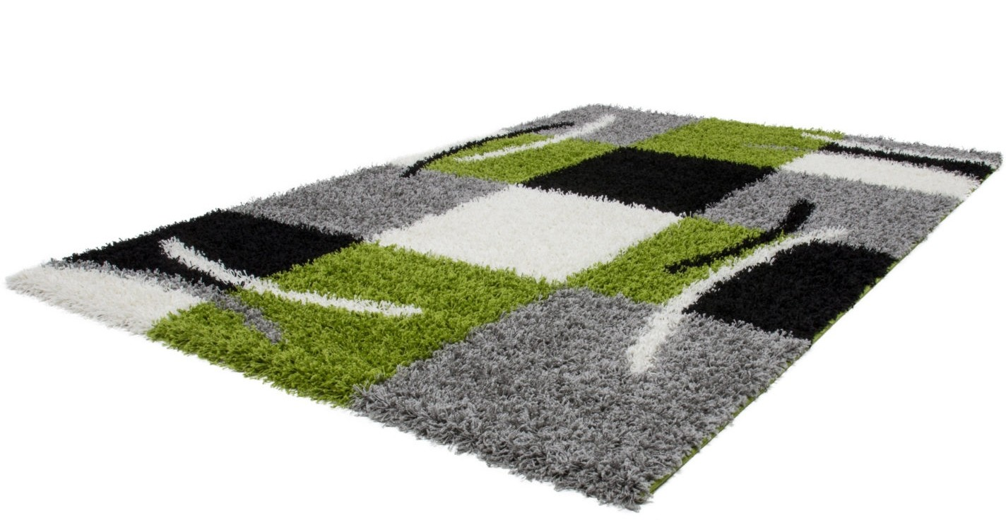 tapis shaggy moderne avec motif coloris gris vert jiva pas. Black Bedroom Furniture Sets. Home Design Ideas