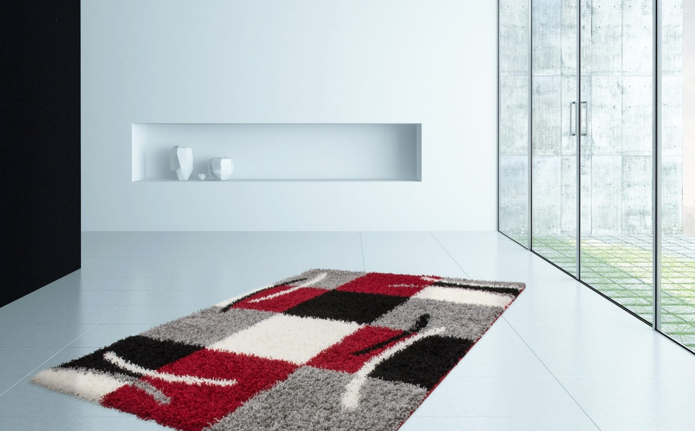 tapis shaggy moderne avec motif coloris gris rouge jiva pas cher. Black Bedroom Furniture Sets. Home Design Ideas