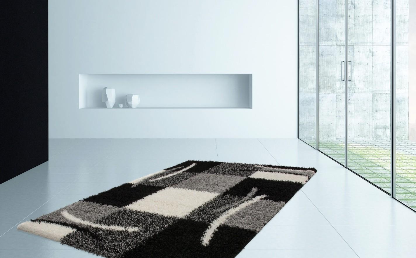 Tapis Shaggy moderne avec motif coloris gris/noir JIVA pas cher