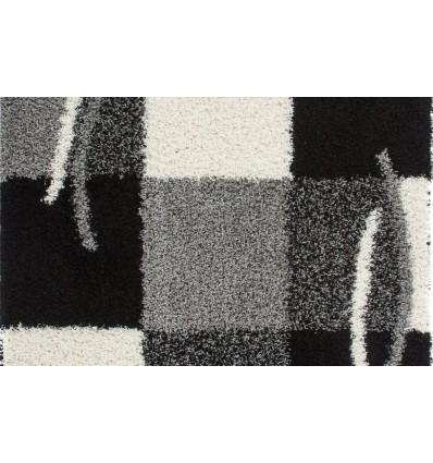 Tapis Shaggy Moderne Avec Motif Coloris Gris Noir Jiva Pas Cher