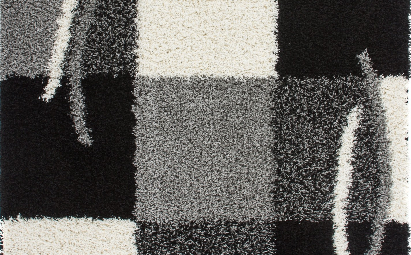 tapis shaggy moderne avec motif coloris gris noir jiva pas cher. Black Bedroom Furniture Sets. Home Design Ideas
