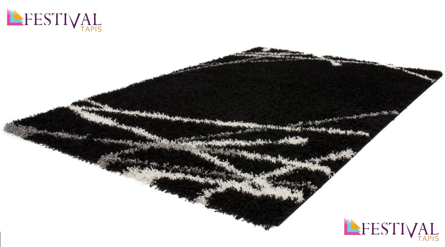 tapis shaggy moderne avec motif coloris noir jiva pas cher. Black Bedroom Furniture Sets. Home Design Ideas