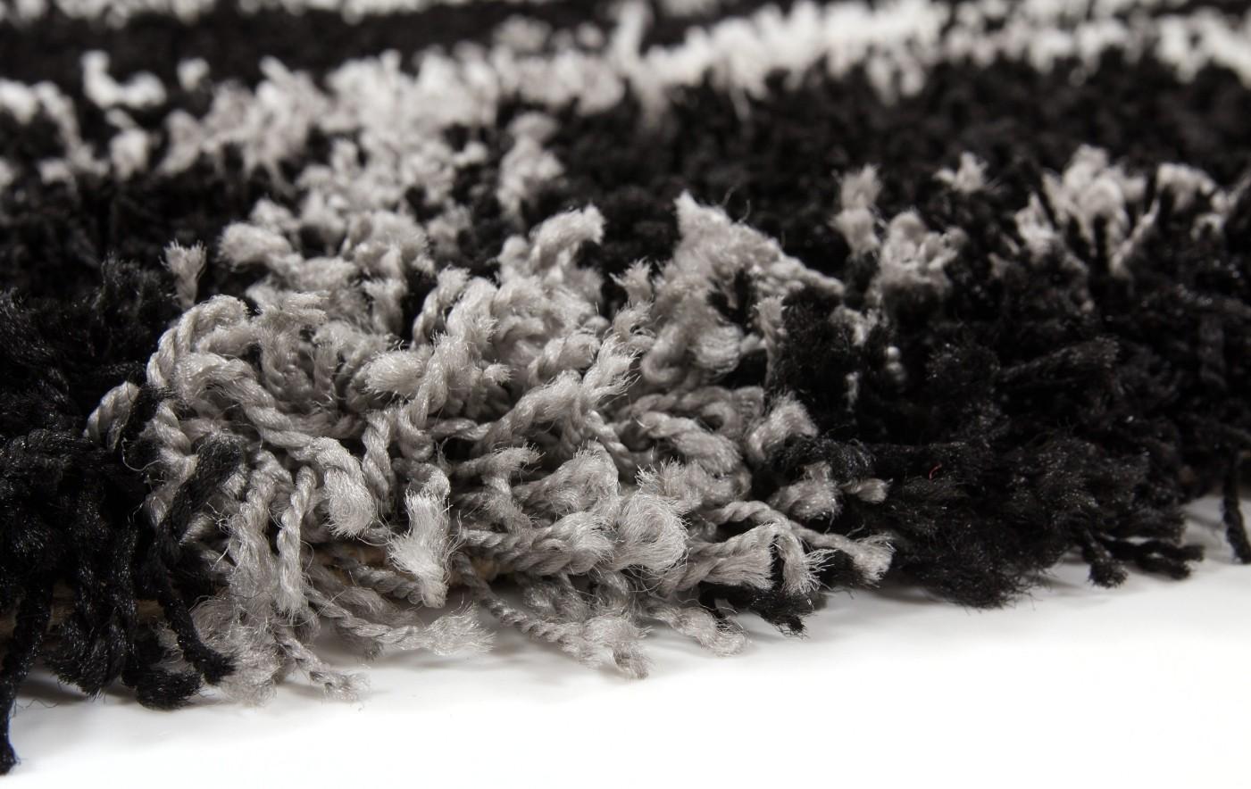 Tapis Shaggy moderne avec motif coloris noir JIVA pas cher