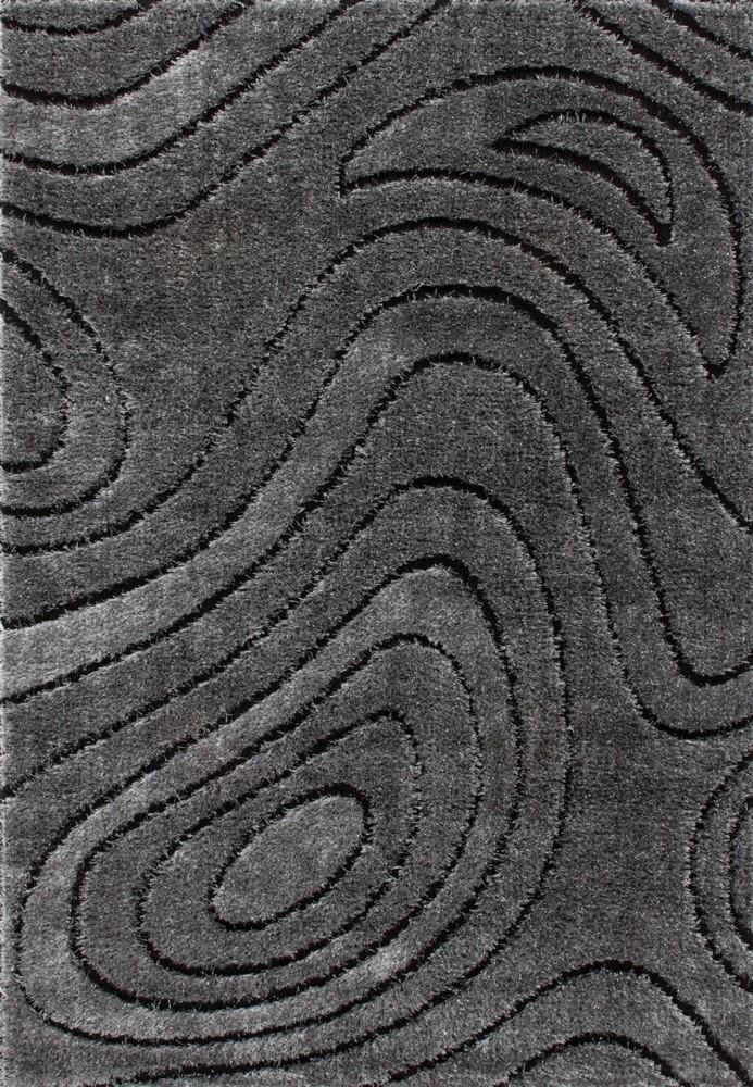 Tapis shaggy moderne pars m de lurex coloris gris funky for Tapis gris fonce pas cher