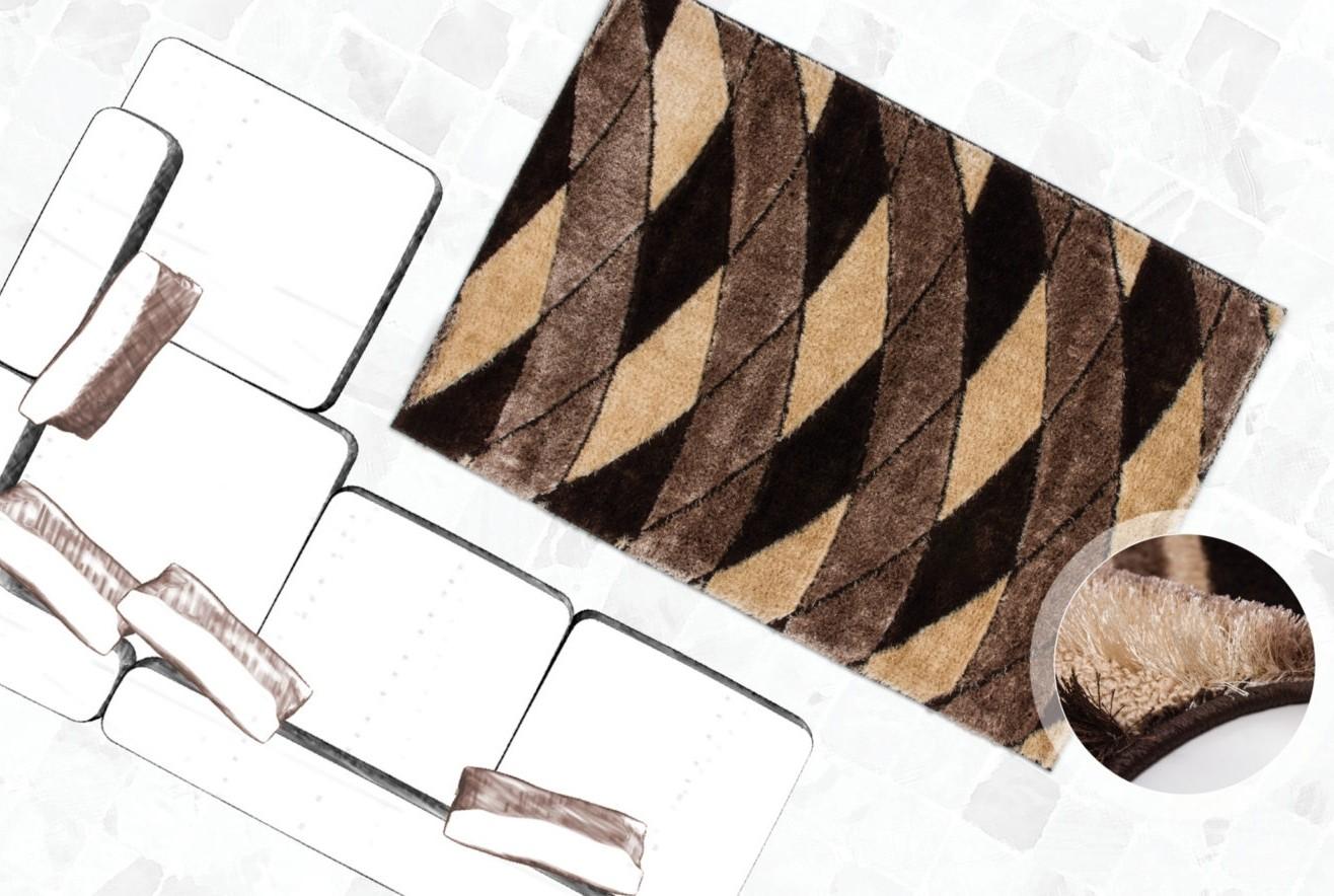 Tapis shaggy moderne parsémé de lurex coloris beige funky pas cher