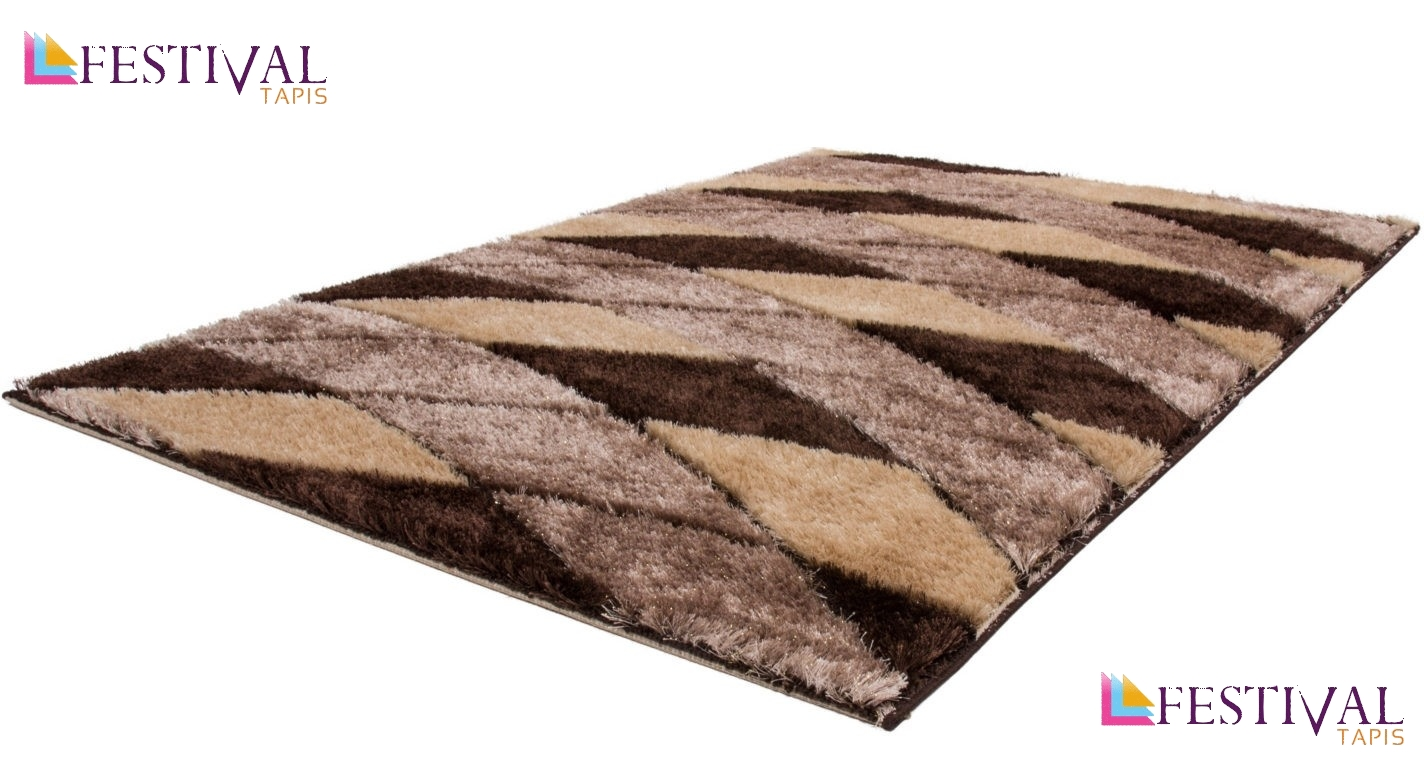 Tapis shaggy moderne pars m de lurex coloris beige funky for Tapis salon colore pas cher