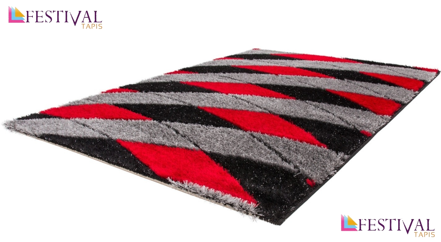 tapis shaggy moderne pars m de lurex coloris rouge noir. Black Bedroom Furniture Sets. Home Design Ideas