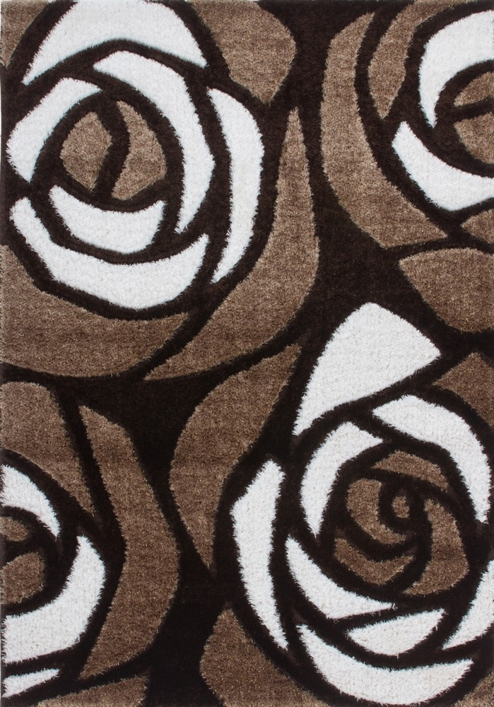 Tapis Shaggy moderne parsémé de lurex coloris marron/beige FUNKY pas ...