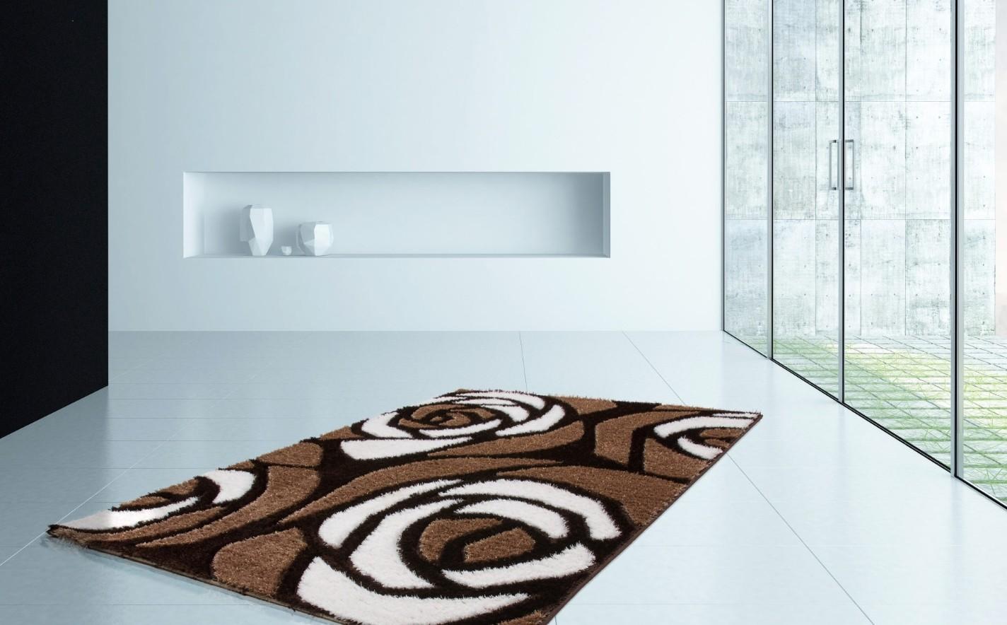 Tapis shaggy moderne pars m de lurex coloris marron beige - Tapis descente de lit pas cher ...