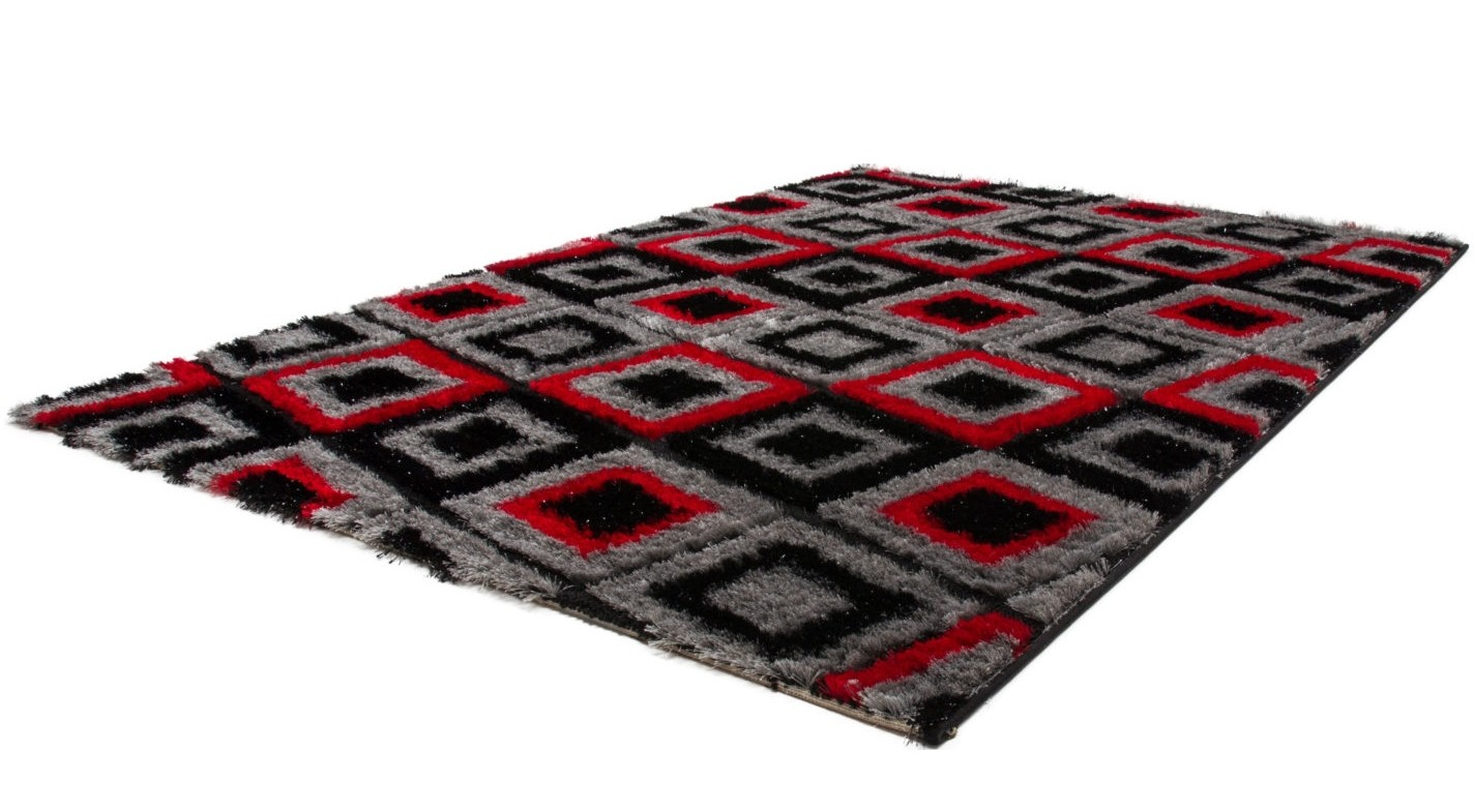 tapis shaggy design pars m de lurex coloris rouge noir funky pas cher. Black Bedroom Furniture Sets. Home Design Ideas
