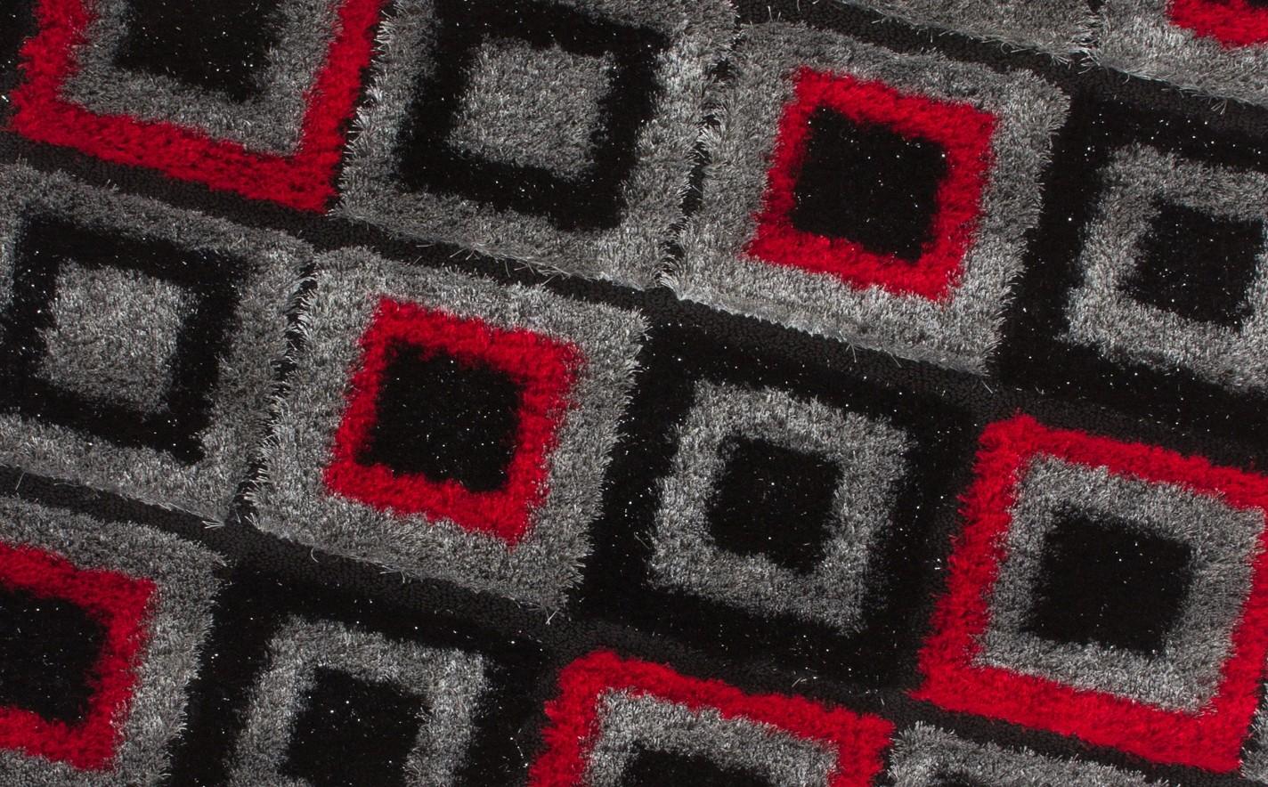 Tapis shaggy design parsémé de lurex coloris rouge/noir funky pas cher