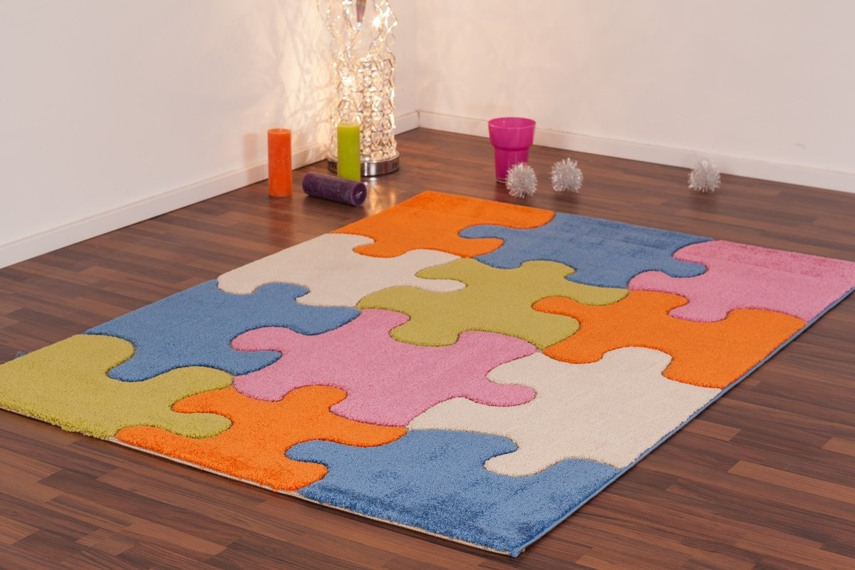 tapis pour enfant play moderne puzzle bleu vert cr me orange pas cher. Black Bedroom Furniture Sets. Home Design Ideas