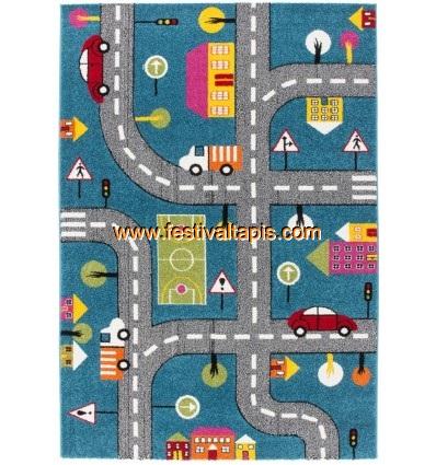 tapis pour enfant motif play moderne route bleu vert gris. Black Bedroom Furniture Sets. Home Design Ideas