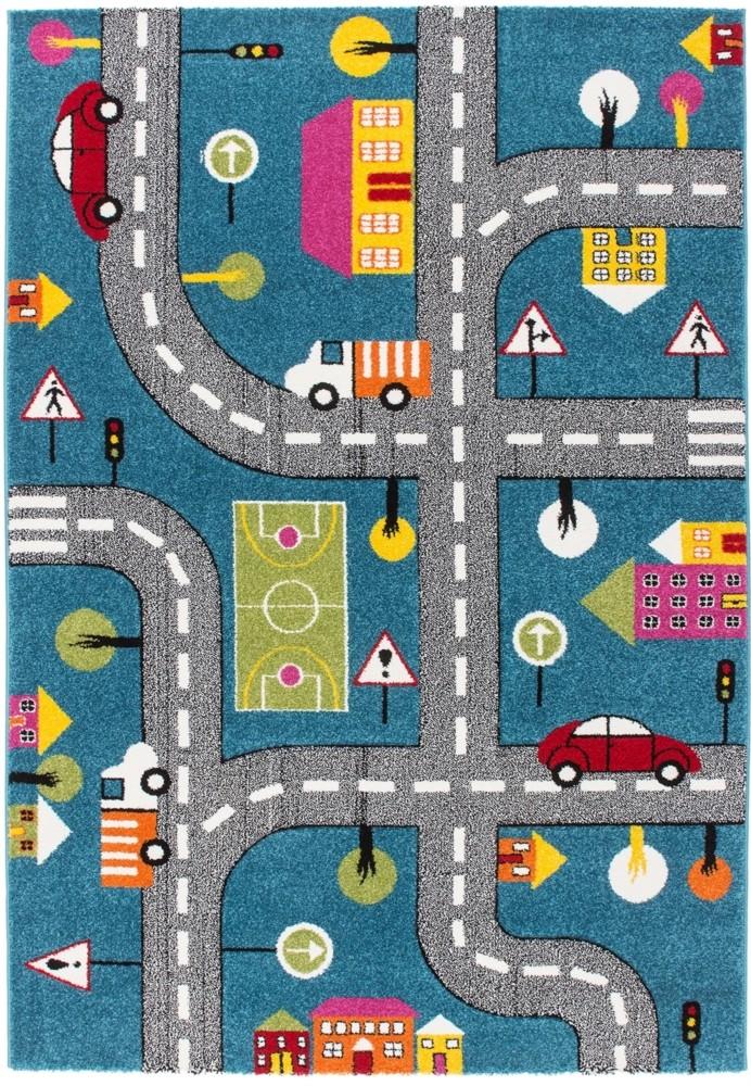tapis pour enfant motif play moderne route bleu vert gris pas cher