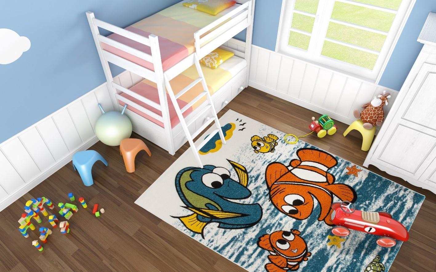 tapis bleu pour enfant à courtes mèches nemo pas cher