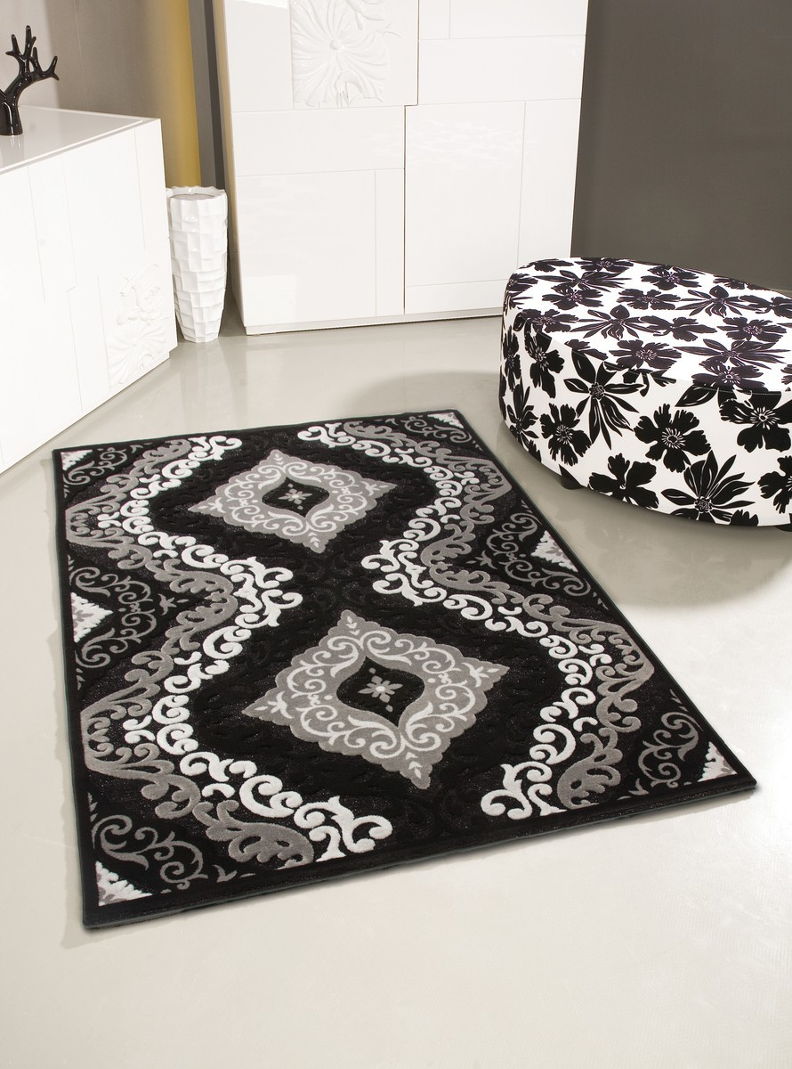 tapis motifs baroque noir jericho pas cher. Black Bedroom Furniture Sets. Home Design Ideas