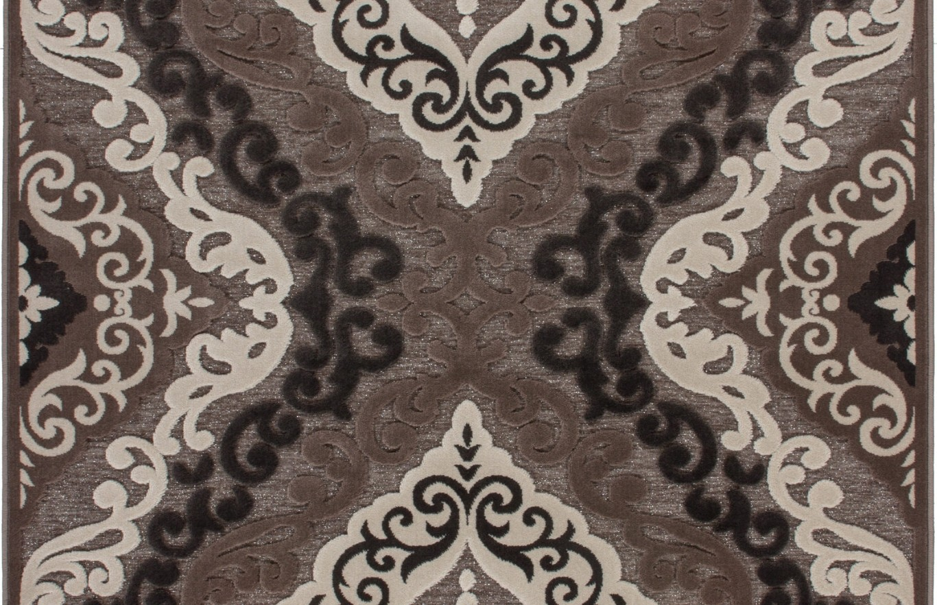 tapis 224 motifs baroque brun marron jericho pas cher