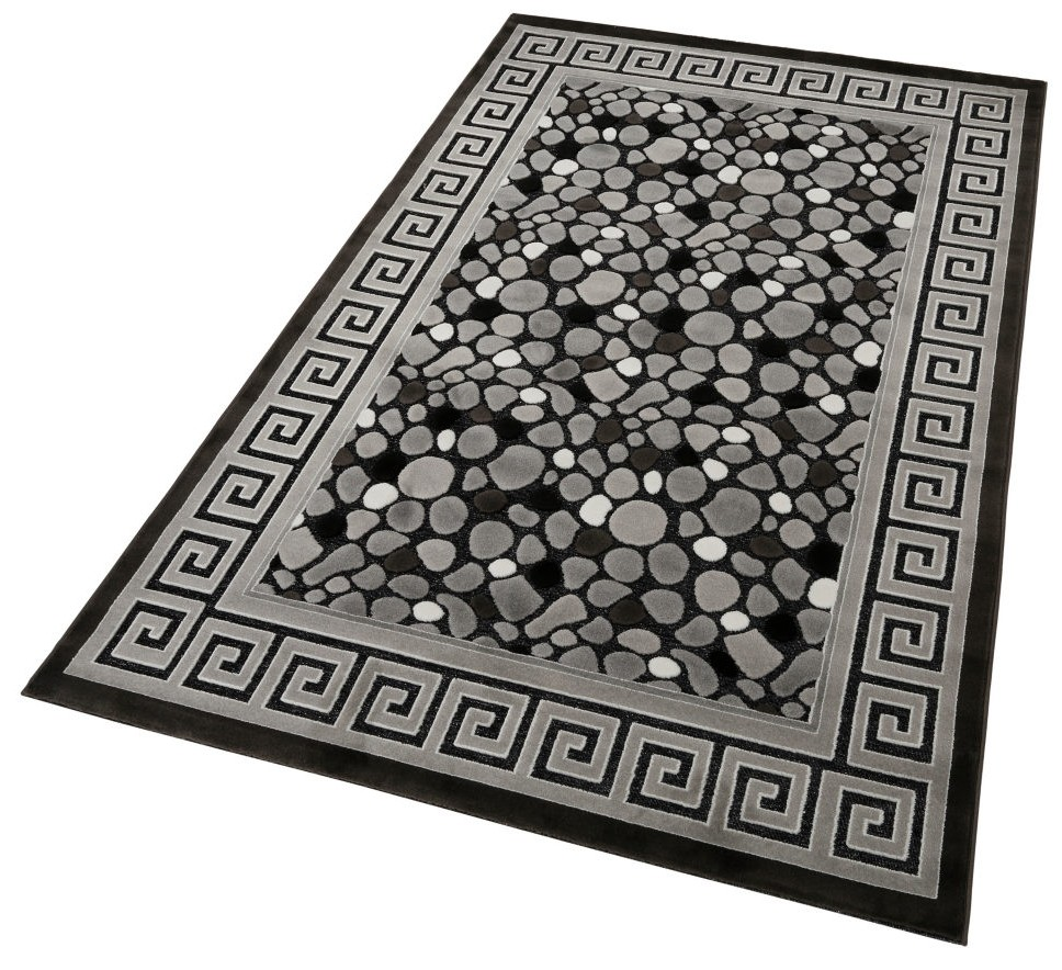 tapis baroque oriental effet 3d motif pierre noir jericho. Black Bedroom Furniture Sets. Home Design Ideas