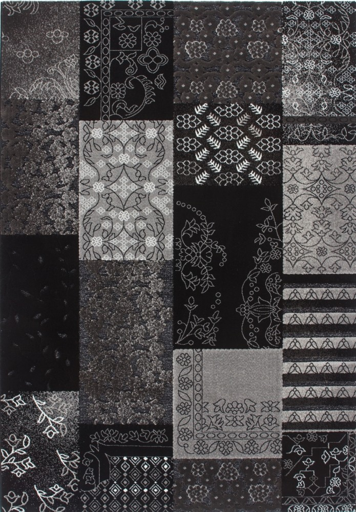 tapis baroque oriental effet 3d noir gris jericho pas cher. Black Bedroom Furniture Sets. Home Design Ideas