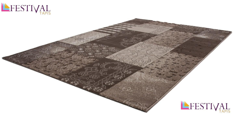 tapis 224 motifs baroque classique brun marron jericho pas cher