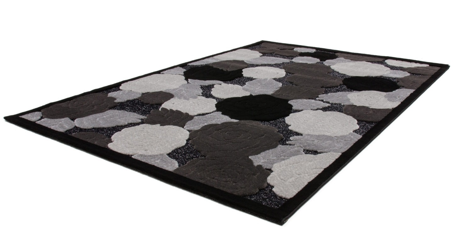 tapis baroque oriental effet 3d motif fleur noir gris jericho pas cher. Black Bedroom Furniture Sets. Home Design Ideas