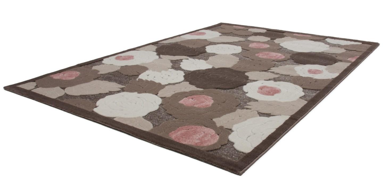 tapis baroque oriental effet 3d motif fleur marron rose jericho pas cher. Black Bedroom Furniture Sets. Home Design Ideas