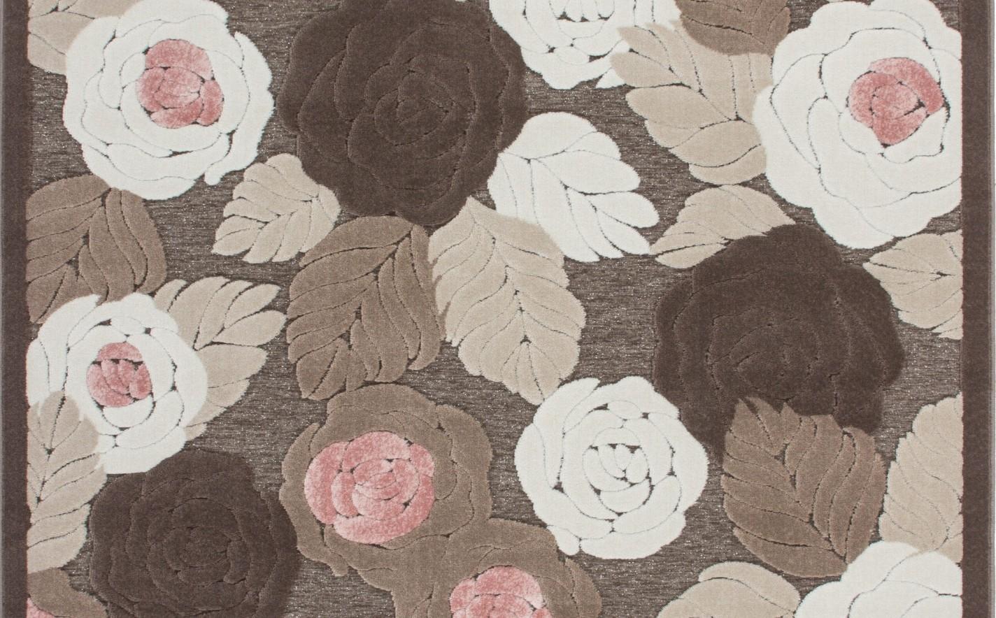 Tapis baroque oriental effet 3d motif fleur marron rose jericho pas cher - Tapis baroque pas cher ...