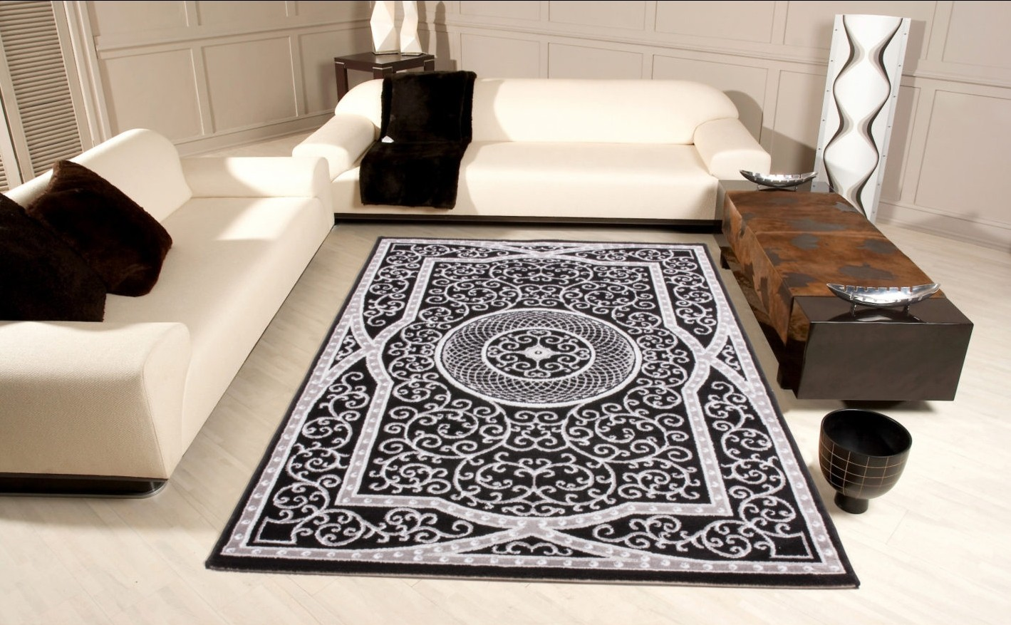 tapis contemporain noir gris en polypropyl ne stanislas pas cher. Black Bedroom Furniture Sets. Home Design Ideas