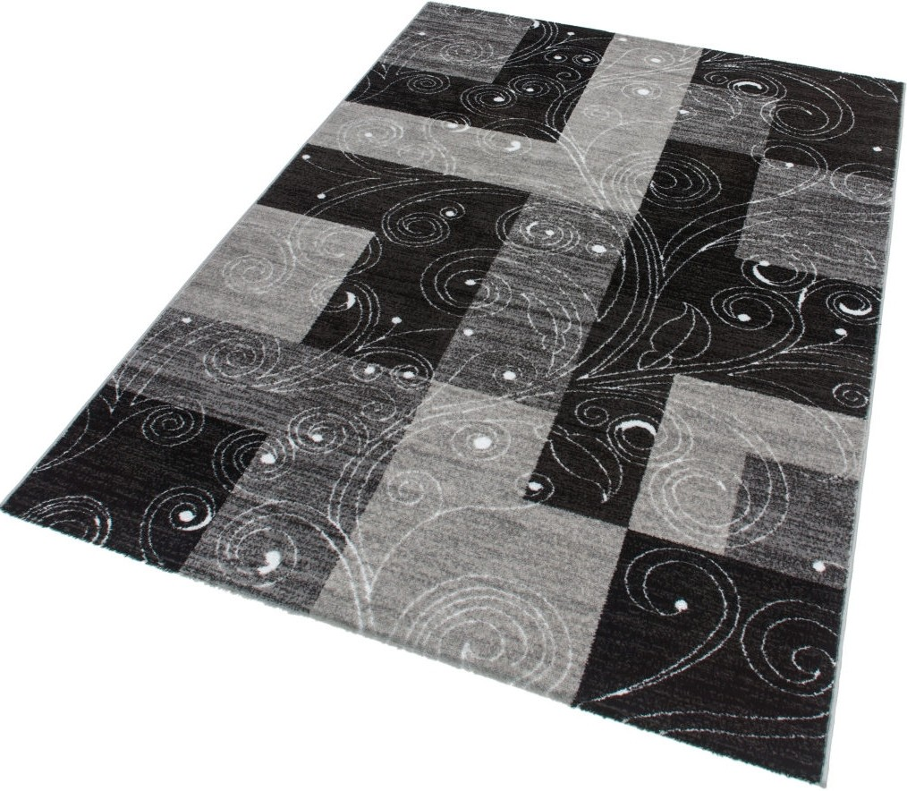 tapis contemporain noir gris stanislas pas cher. Black Bedroom Furniture Sets. Home Design Ideas