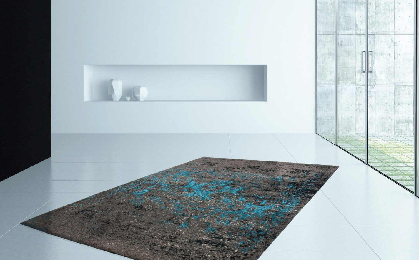 Tapis design pas cher gris blue tivoli for Tres grand tapis pas cher