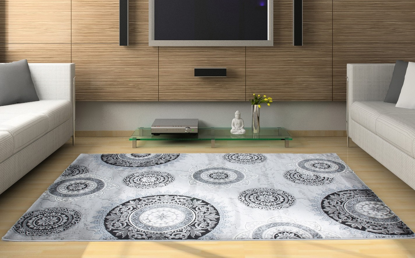 tapis silver gris pour salon en acrylique et polypropylen gravel pas cher. Black Bedroom Furniture Sets. Home Design Ideas